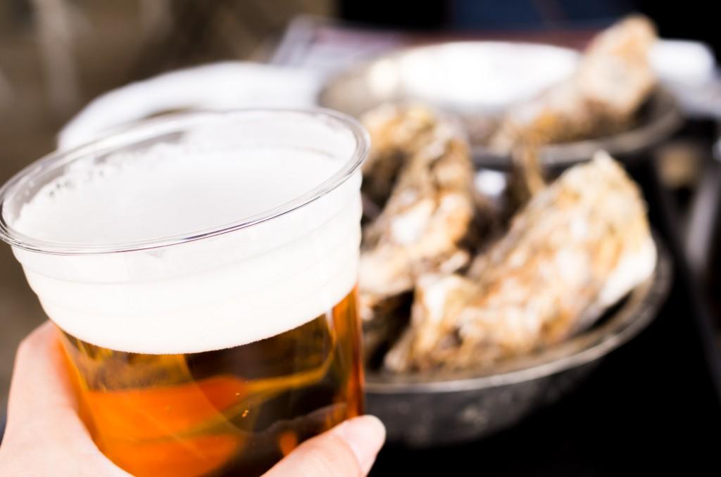 かき小屋 ビール