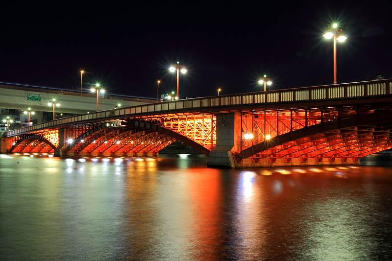 浅草 吾妻橋のライトアップ