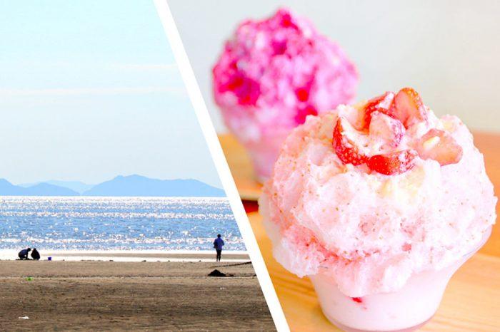 ビーチを見ながら、ふわふわ自家製かき氷を食べられるスポットがある