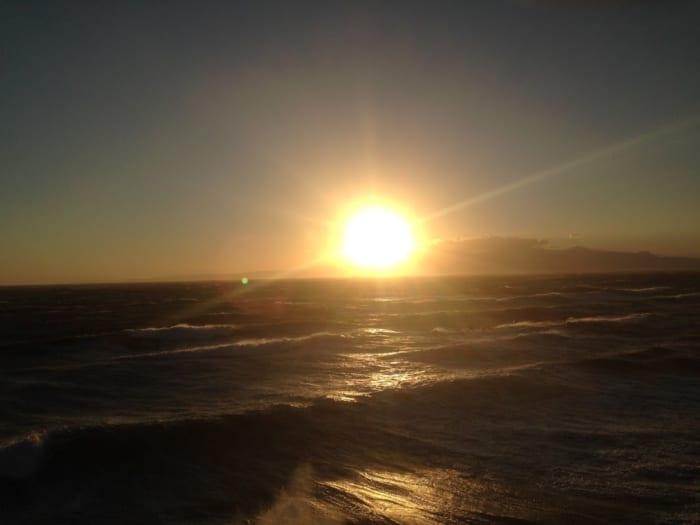 夕日, 浜の湯, 伊豆大島